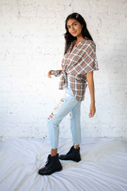 Feeling Plaid Oversized Top Mocha