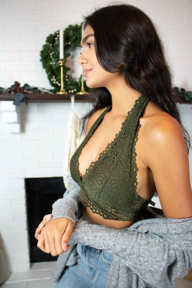 Over and Under Lace Bralette Olive