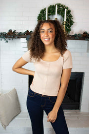 Easy For Me Ribbed Knit Top Taupe