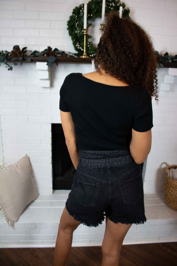 Easy For Me Ribbed Knit Top Black