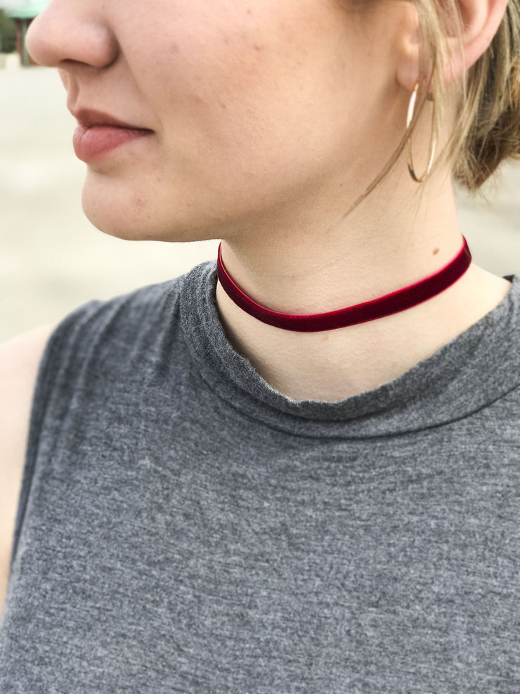 Velvet Choker Red - Shellsea