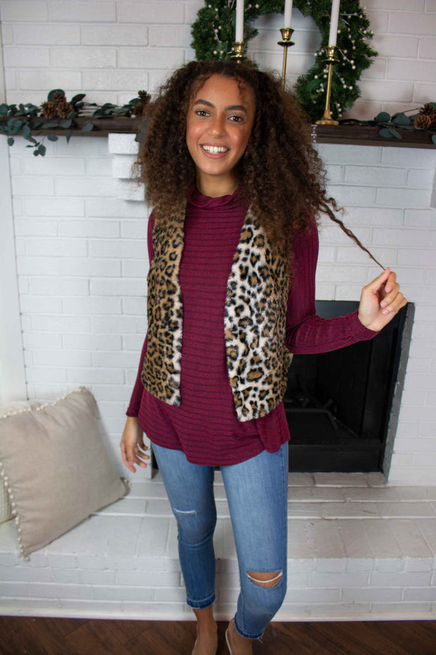 Wild Thing Faux-Fur Vest Leopard