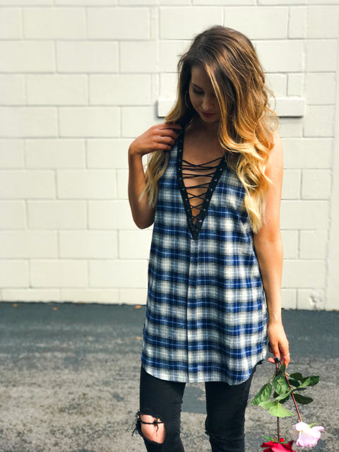 Indigo Plaid Lace Up Tunic - Shellsea