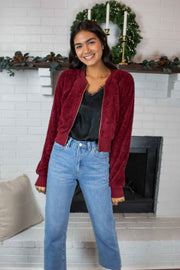 Wandering Lives Sherpa Bomber Jacket Red