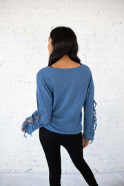 Out of Patience Knit Top Blue