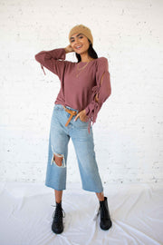 Out of Patience Knit Top Rose