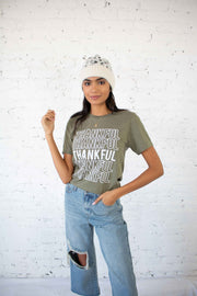 Thankful Graphic Tee Olive