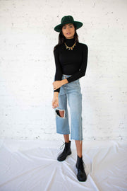 Harry Wide Leg Cropped Distressed Jeans