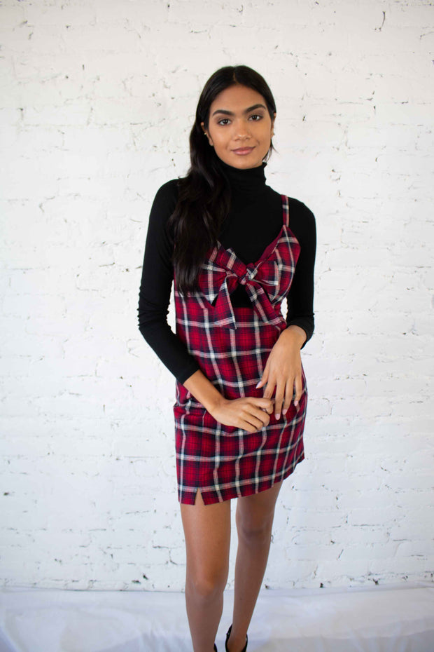 Chance Encounter Plaid Dress Red
