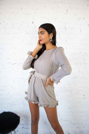 You've Been Spotted Romper Taupe