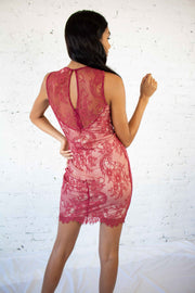 Lacy Days Mini Dress Burgundy