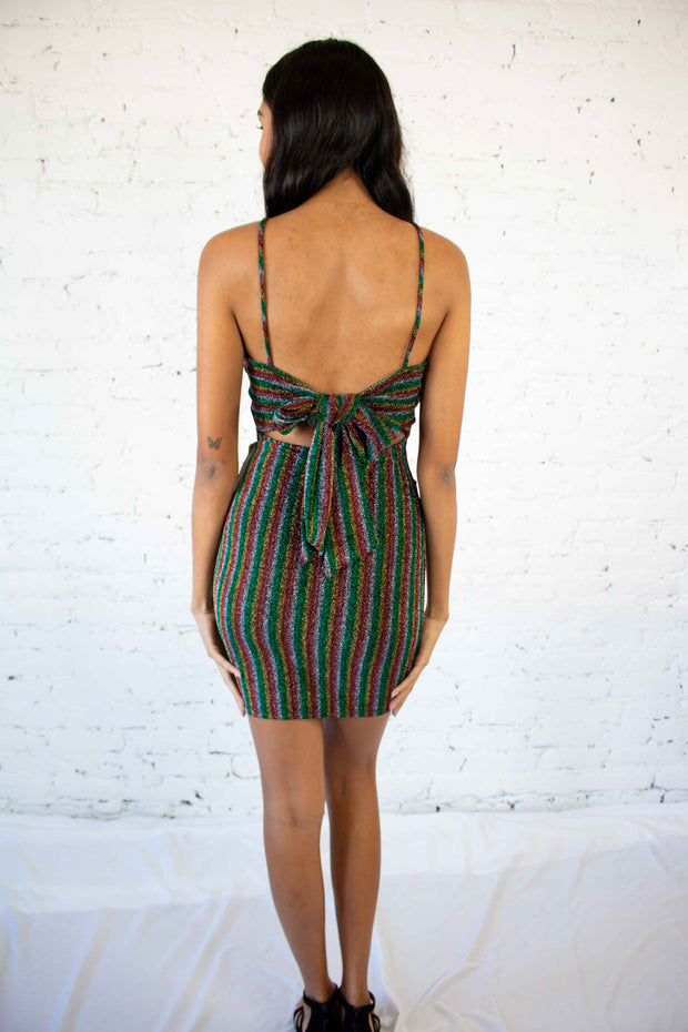 Shake and Shimmer Striped Dress