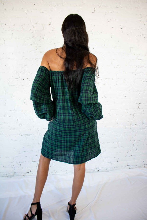 Losing Track Off The Shoulder Dress Green