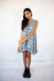 Change of Pace Plaid Tunic White Navy