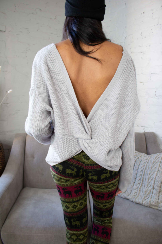Put A Twist On It Sweater Grey