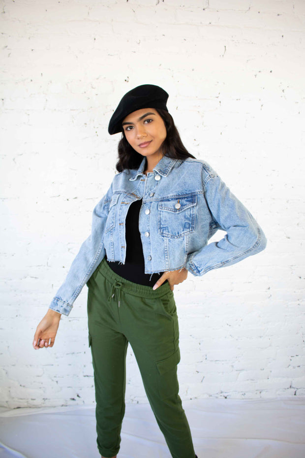 Before You Go Cropped Denim Jacket