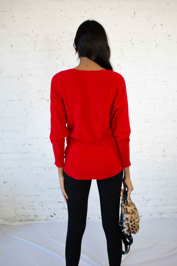 Over Knit Sweater Red