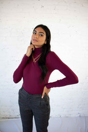 Live Forever Turtleneck Top Burgundy