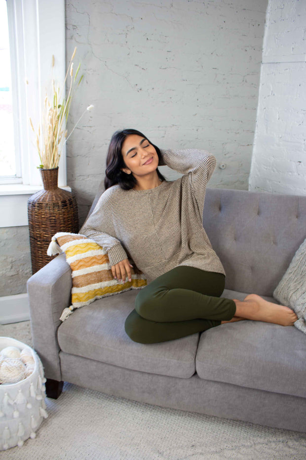 Slow and Steady Knit Top Taupe