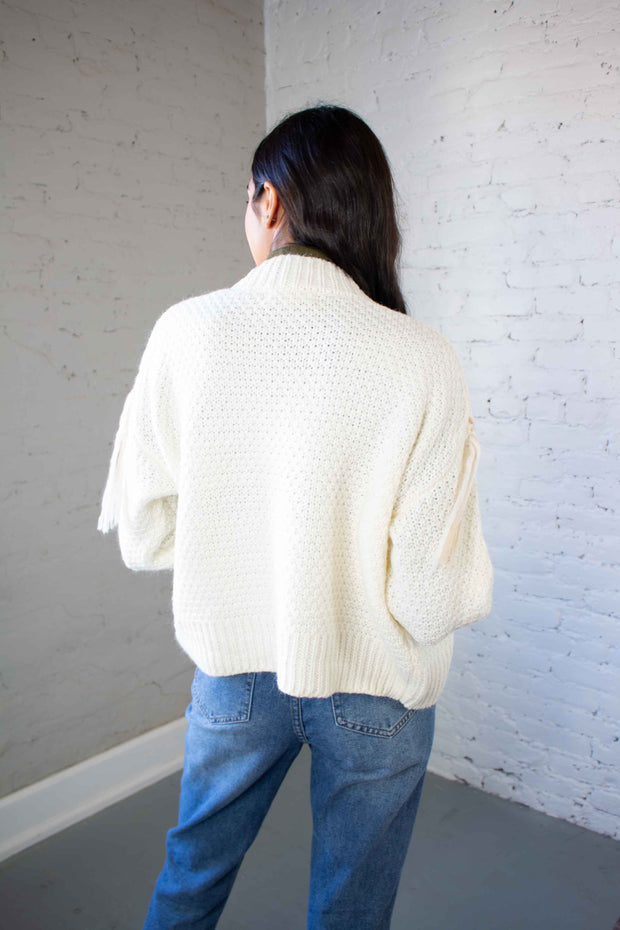 To The Laces Cardigan Ivory