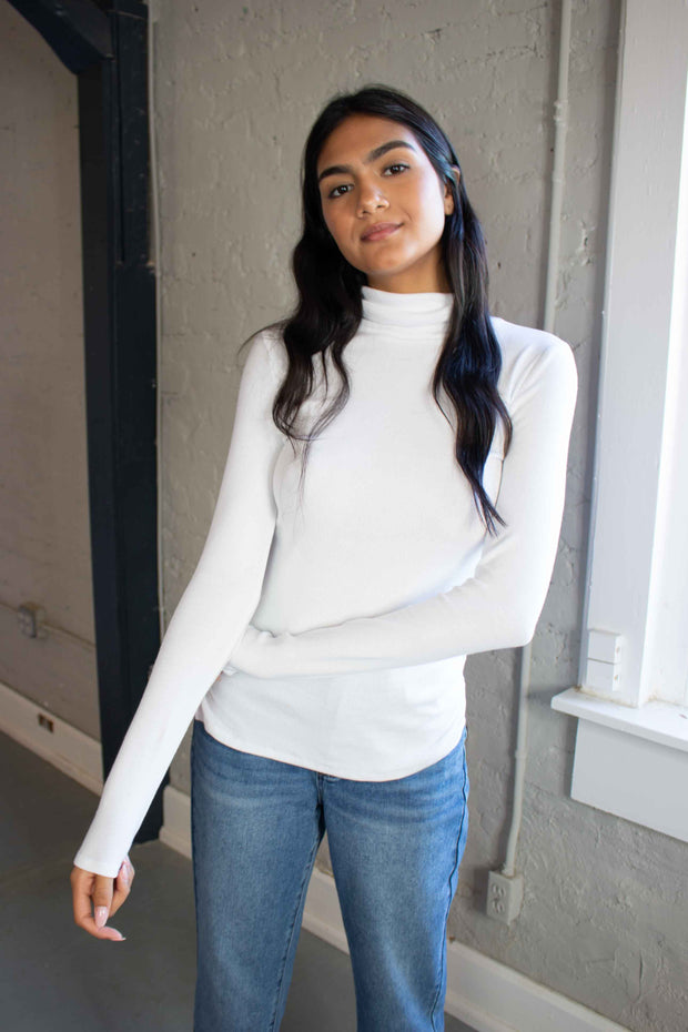 Downtown Dreams Turtleneck White