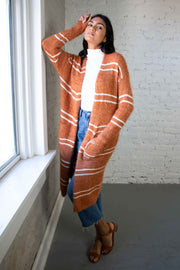 Fuzzy Feeling Striped Cardigan Camel
