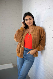 See You Layer Sherpa Jacket Camel