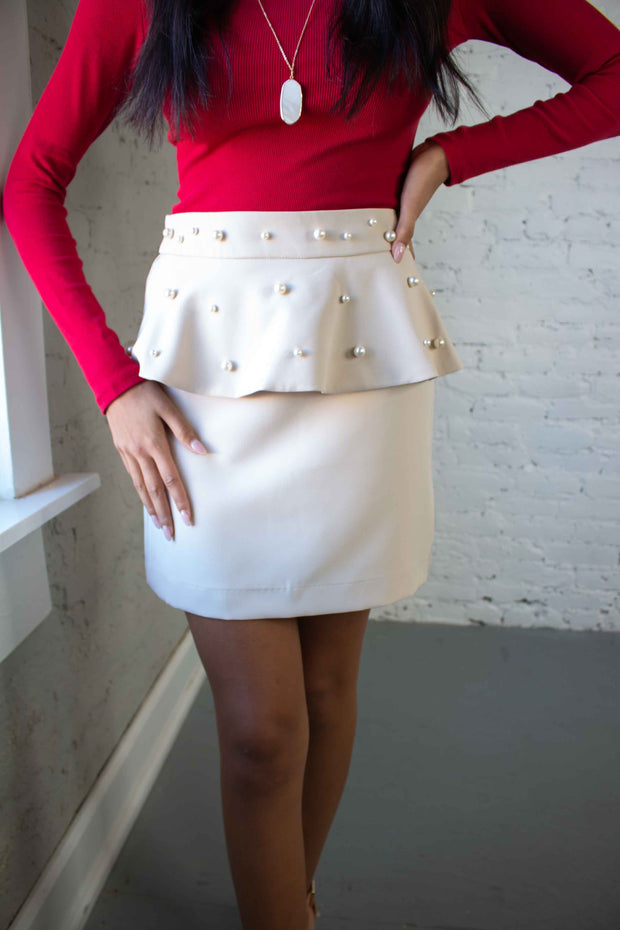 Pearly Riser Peplum Skirt Tan