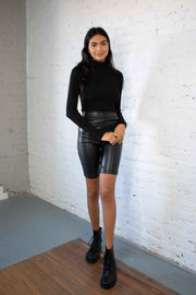 Slick To It Faux Leather Shorts