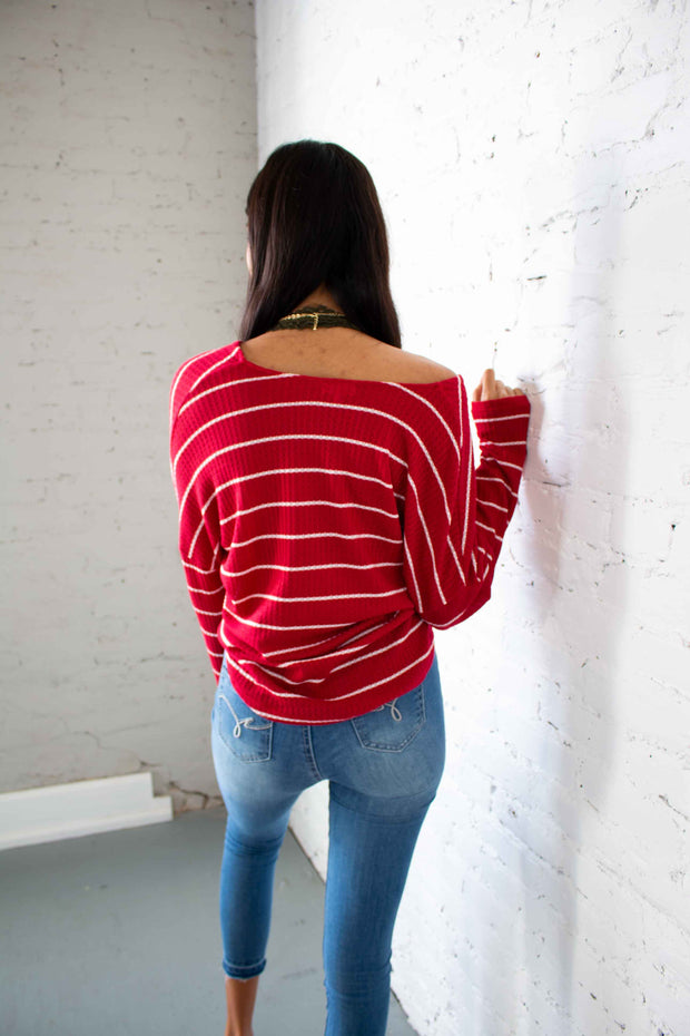 Stripes Done Right Top Red
