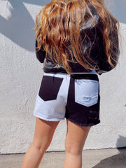 Two Faced Denim Shorts Black White