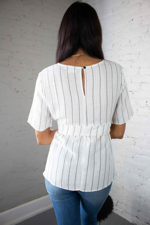 Curious Kind Striped Top White