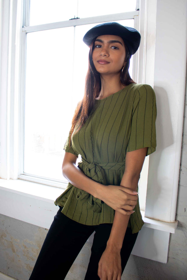 Curious Kind Striped Top Olive