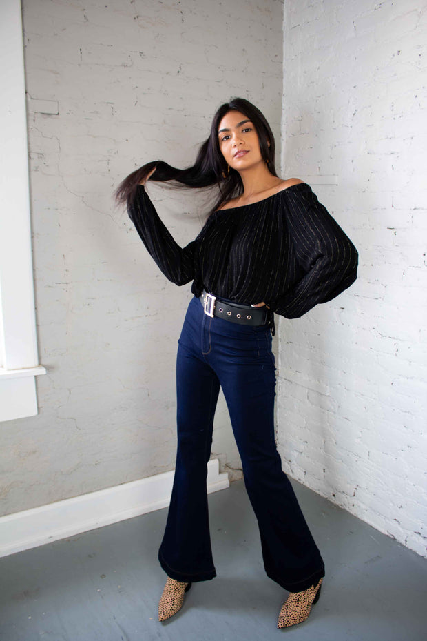 Like a Dream Off The Shoulder Top Black