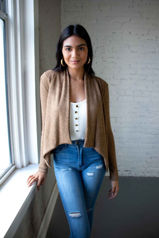 Drape Me Away Cardigan Tan