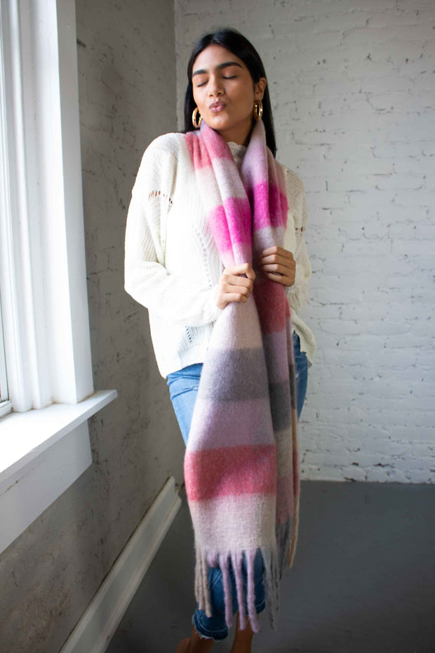 Wool Plaid Scarf Pink