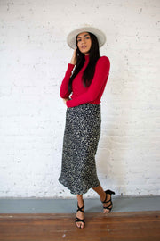 Well Spotted Midi Skirt Black