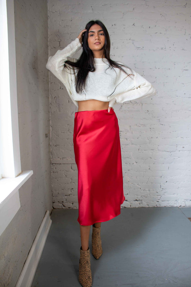 Wrapped In Red Satin Midi Skirt