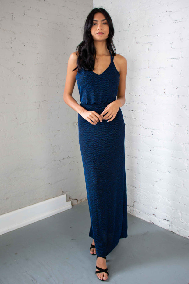 A Little Glimmer Maxi Dress Blue