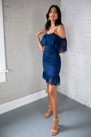 Lacy Nights Dress Navy