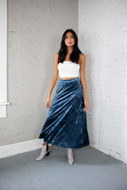 Velvet Like It Is Maxi Skirt Navy