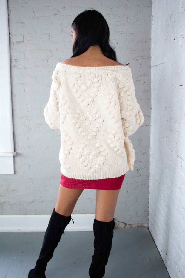 Grab The Popcorn Knit Cardigan Cream