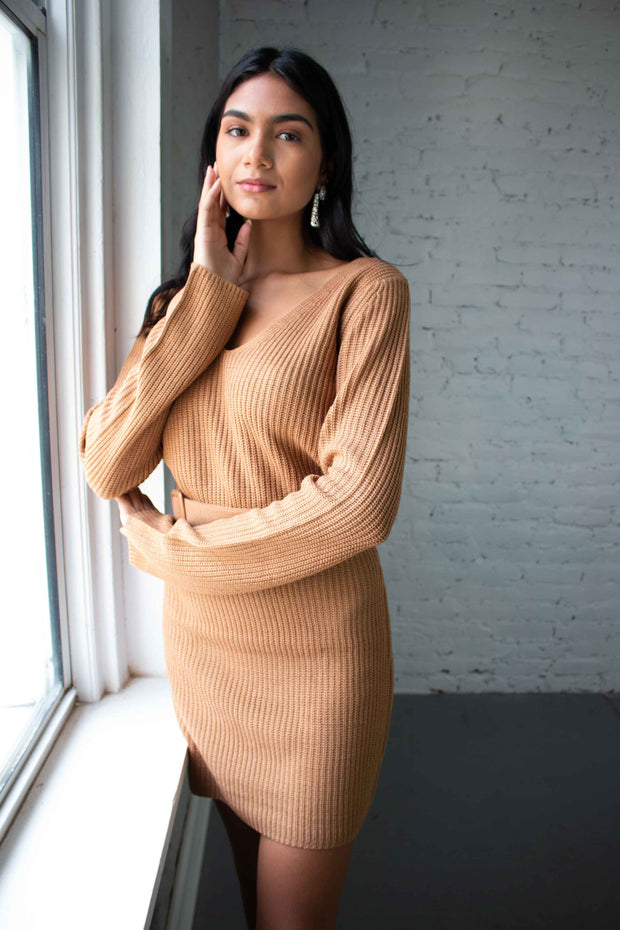 Detail Oriented Sweater Dress Tan