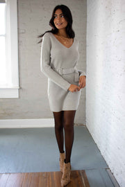 Detail Oriented Sweater Dress Grey
