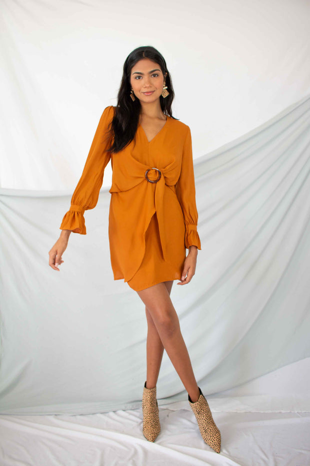 Mine Now Twist Front Dress Camel