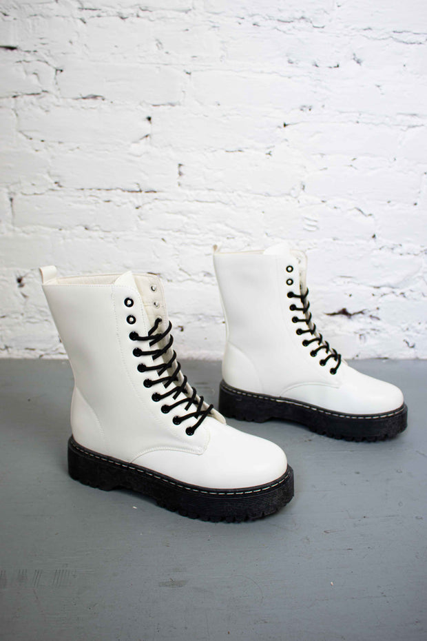 Step It Up Combat Boots White