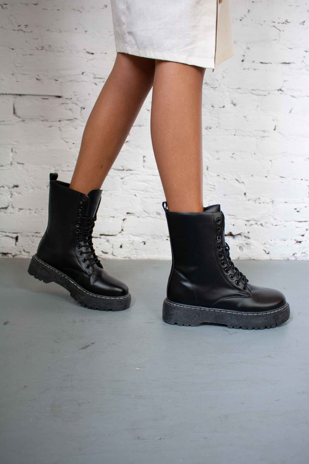 Step It Up Combat Boots Black