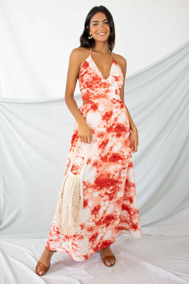 Ready to Flounce Tie Dye Maxi Dress Rust