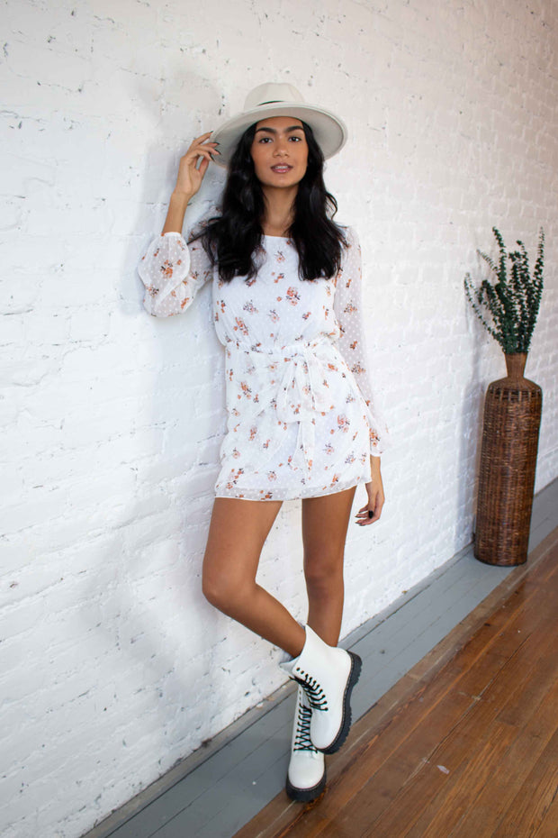 Flattering in Floral Dress White