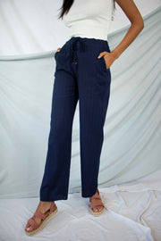 Lost Without You Linen Pants Navy